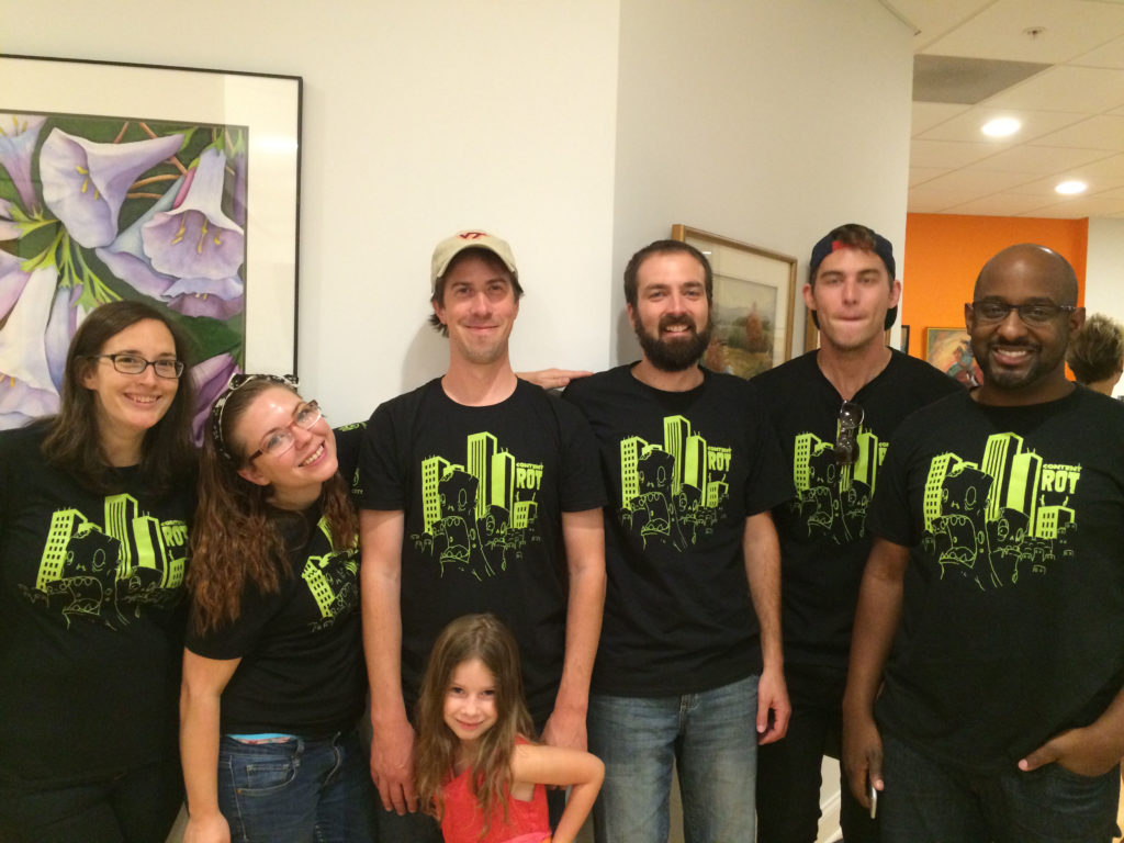 Newcity group in monster shirts at NC 20th anniversary party