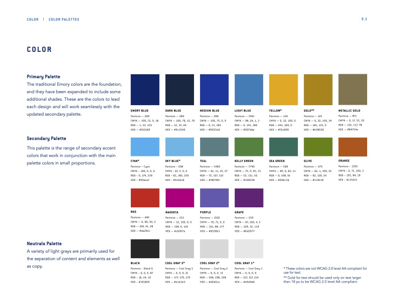 Example from Emory Brand Guide Web Headlines Color Swatches