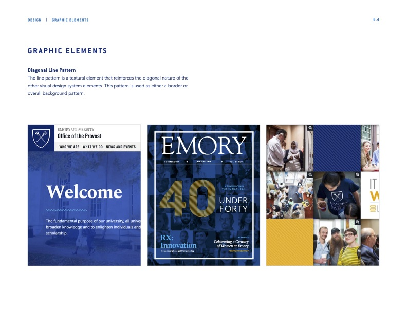 Example from Emory Brand Guide Diagonal Graphic