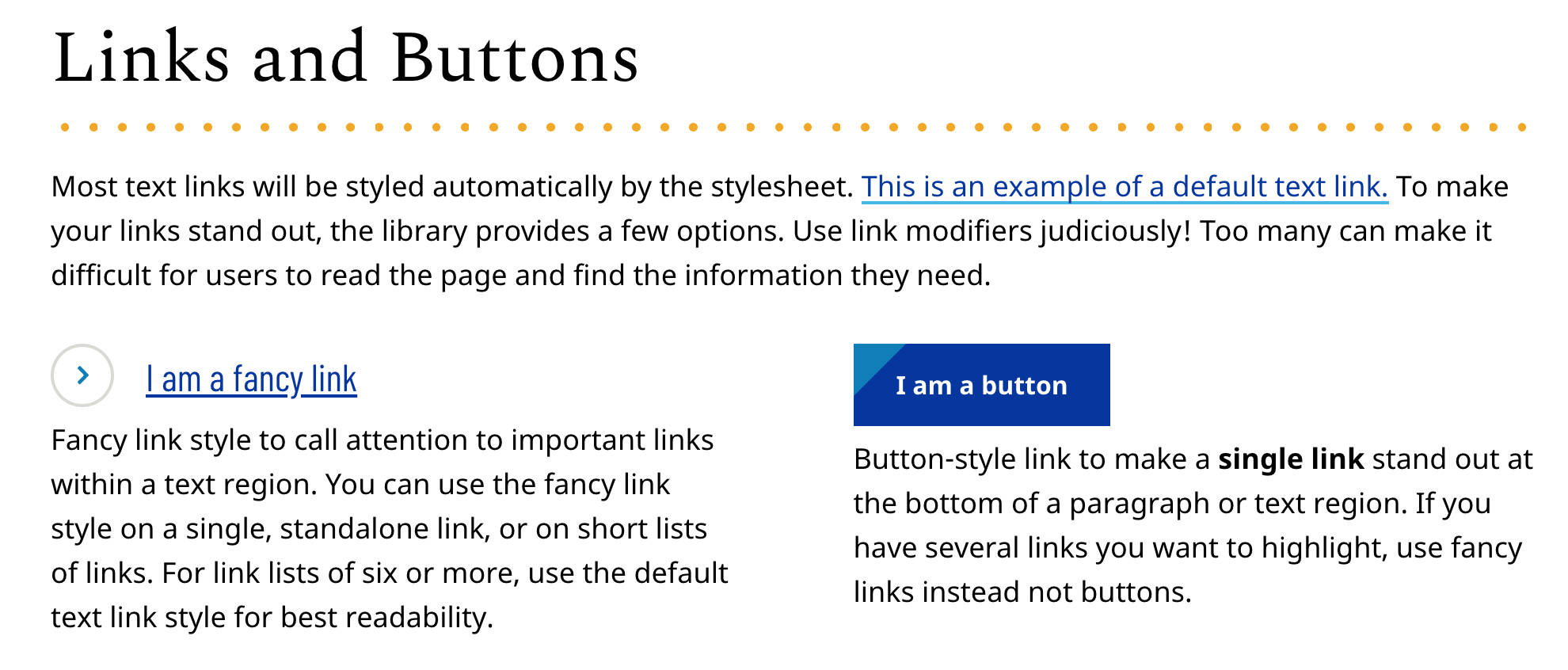 links and buttons from emory style guide