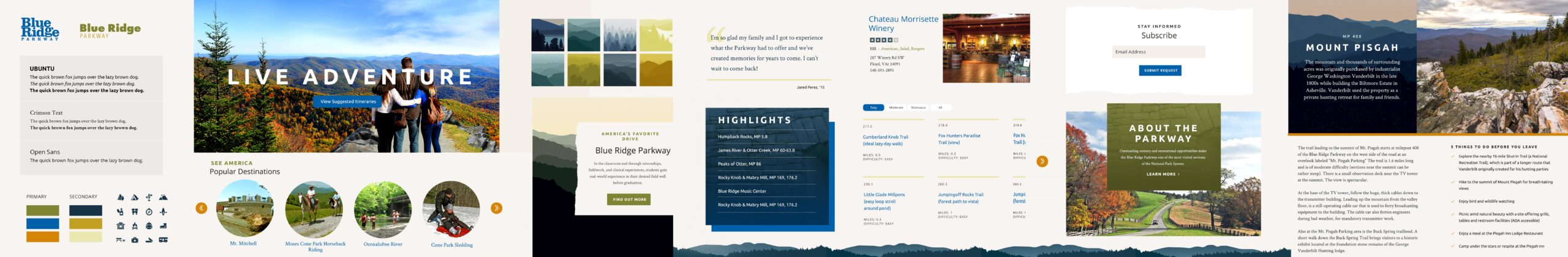 BRPA element collage that defines the font styles, color palette, overall look and feel, example UI elements, and editorial components