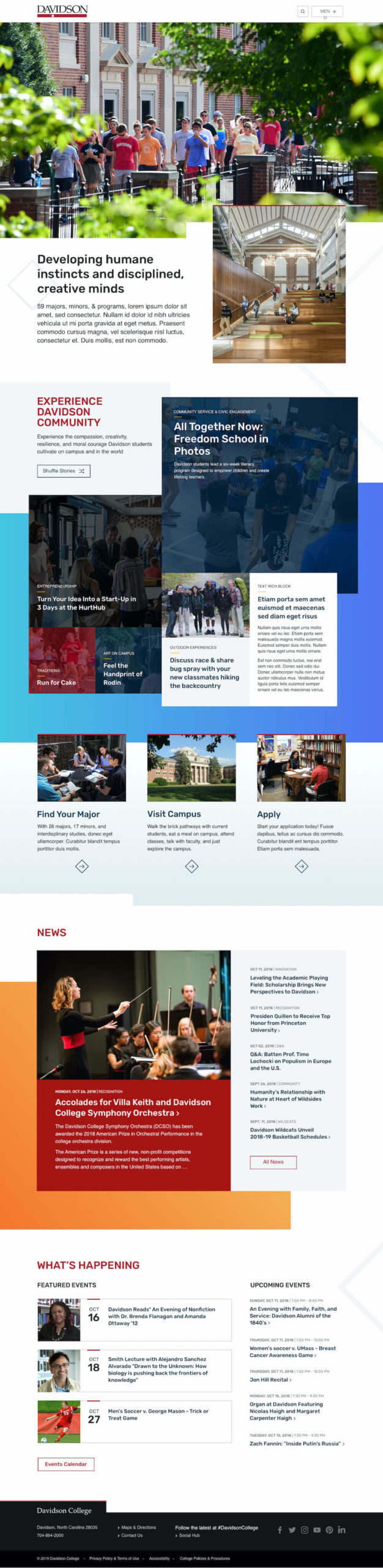 Davidson College homepage comp by Rodger Bridges