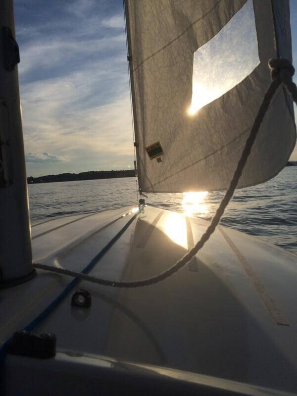 View of sunset through sails