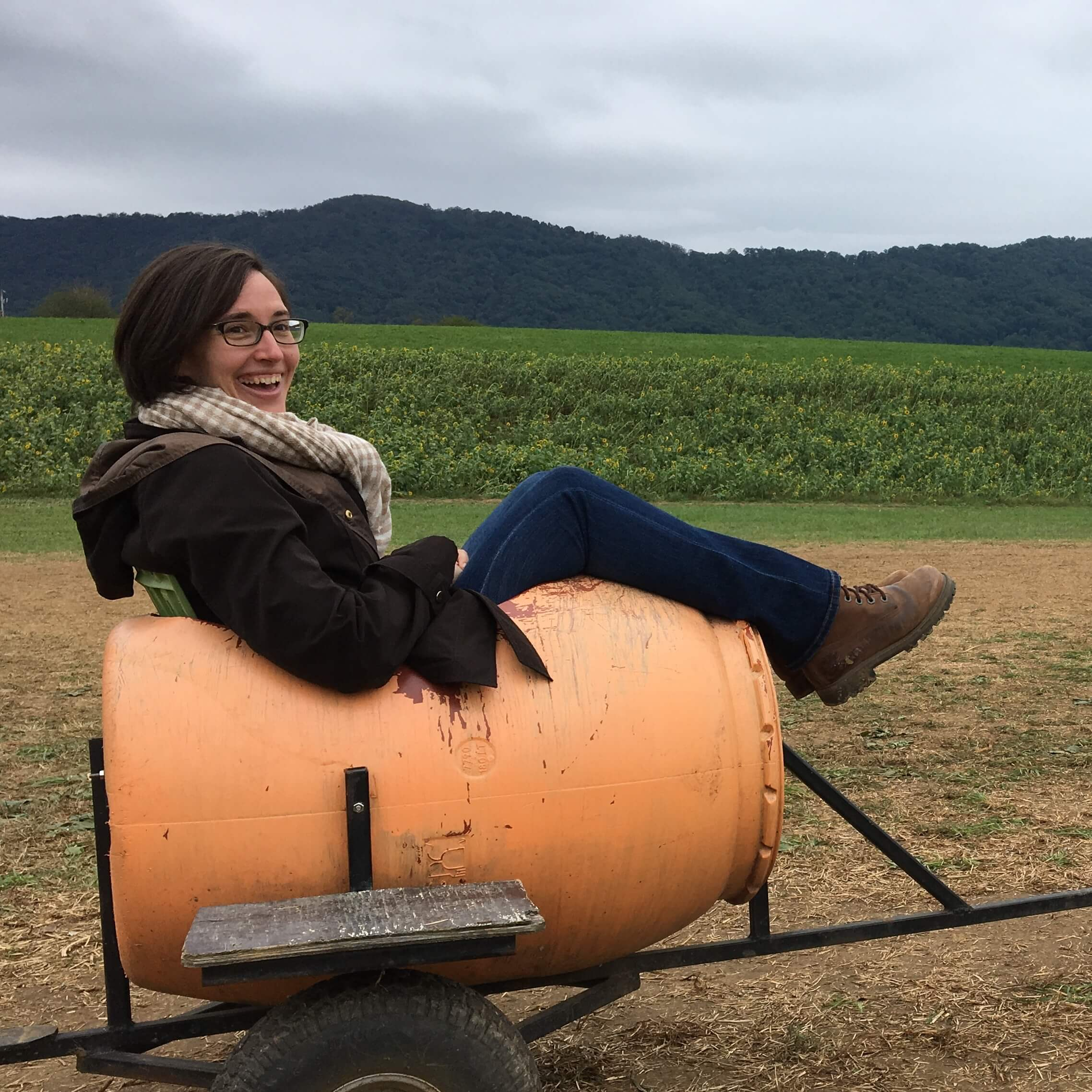 Ride in a barrel train car at fall farm festival
